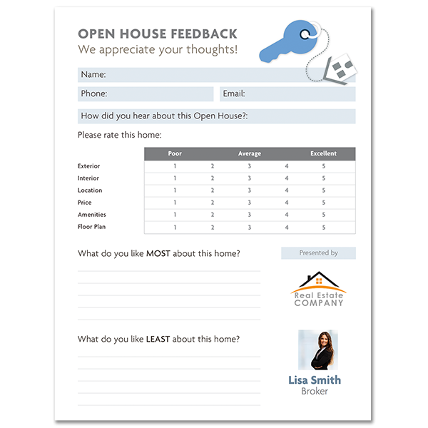 image relating to Free Printable Open House Feedback Form called Open up Residence Opinions Kind