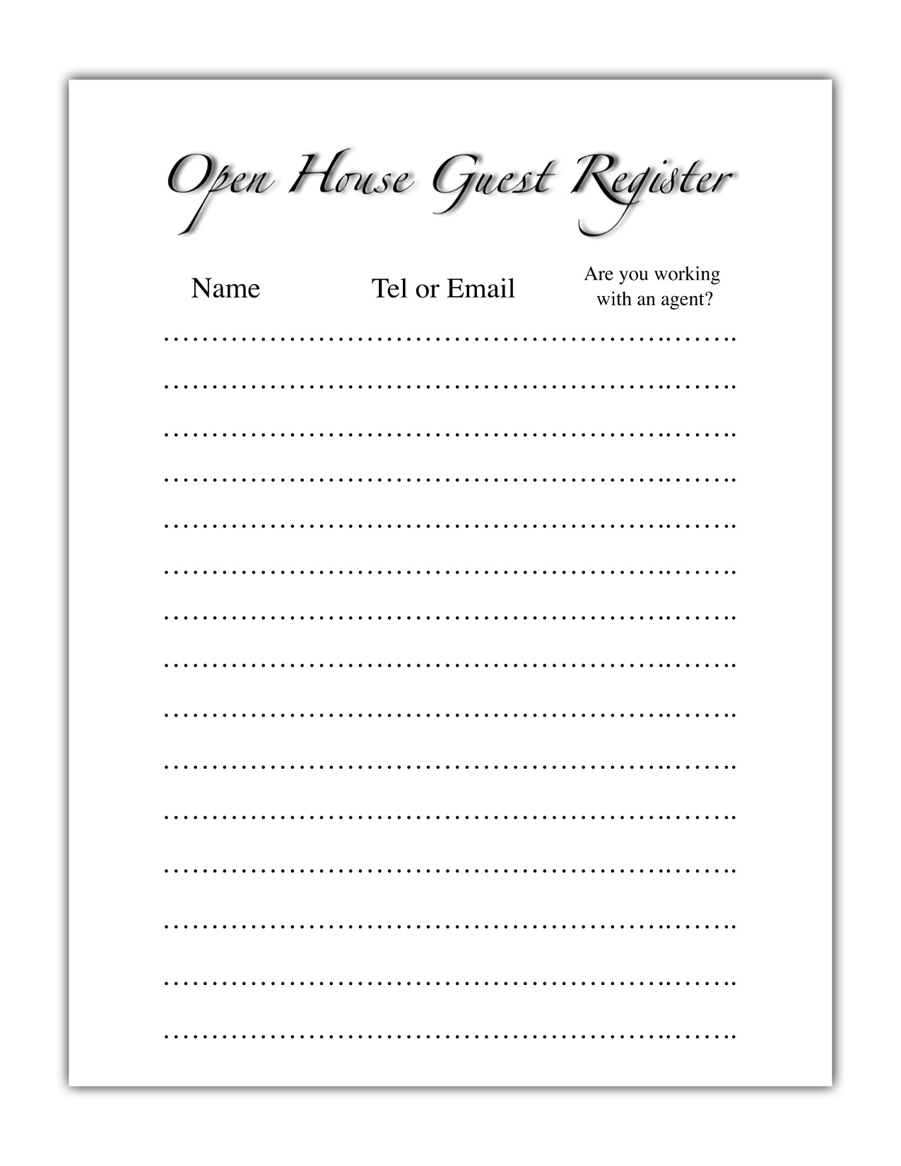 guest register a simple sign in sheet for open houses