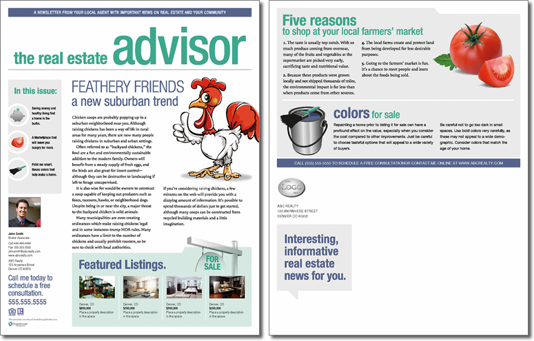 Real estate advisor newsletter template issue 2 for Realtor newsletter templates