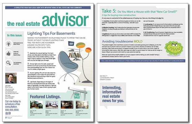 Real estate advisor newsletter template volume 2 issue 1 for Realtor newsletter templates