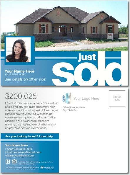 Quotjust soldquot postcard for Real estate just sold flyer templates