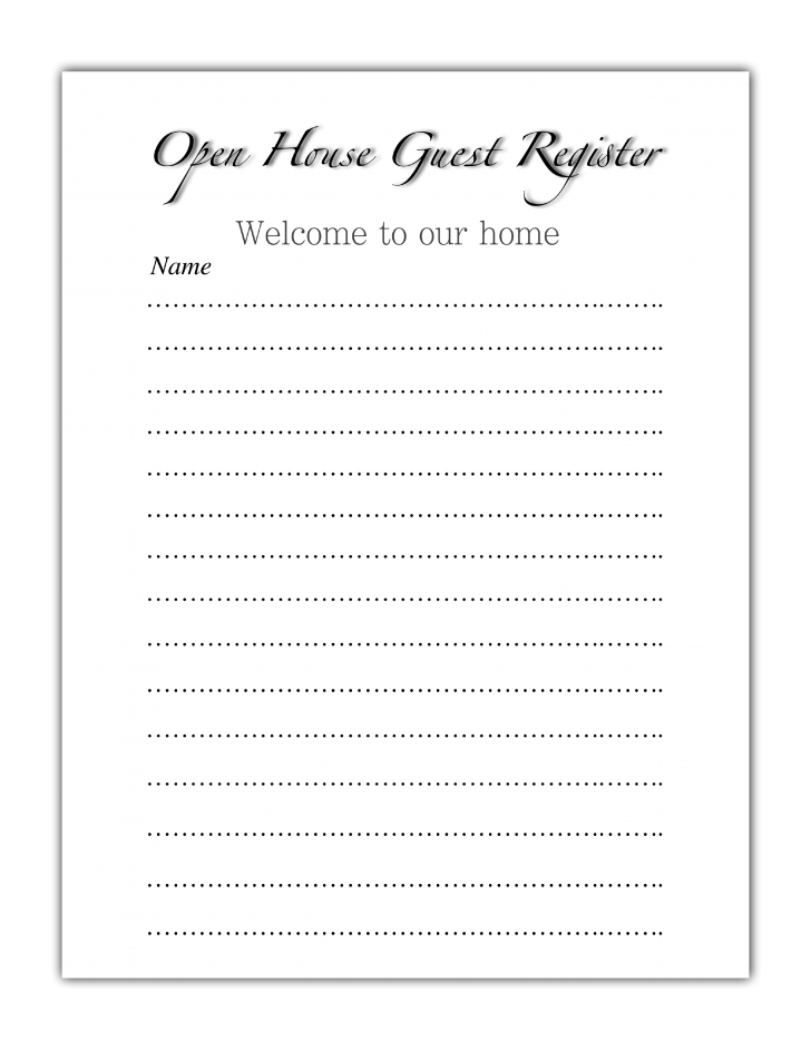 open house sign in sheets templates