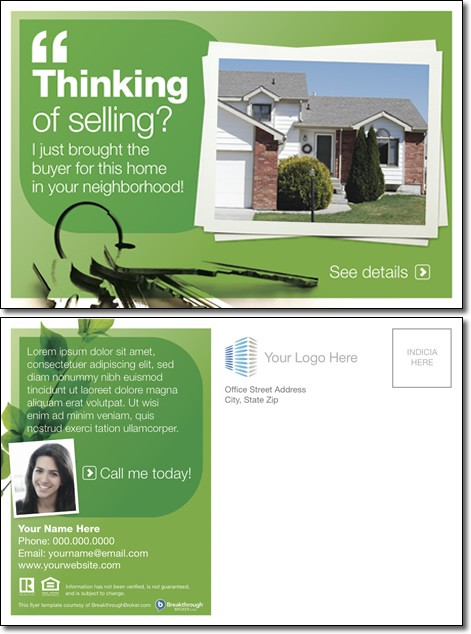 """Thinking Of Selling?"" Postcard"