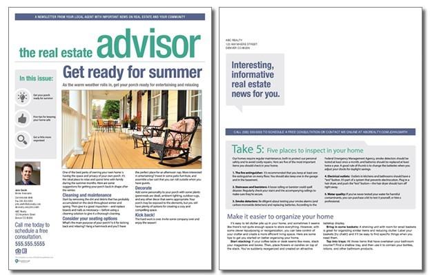Real estate advisor newsletter template volume 4 issue 4 for Realtor newsletter templates