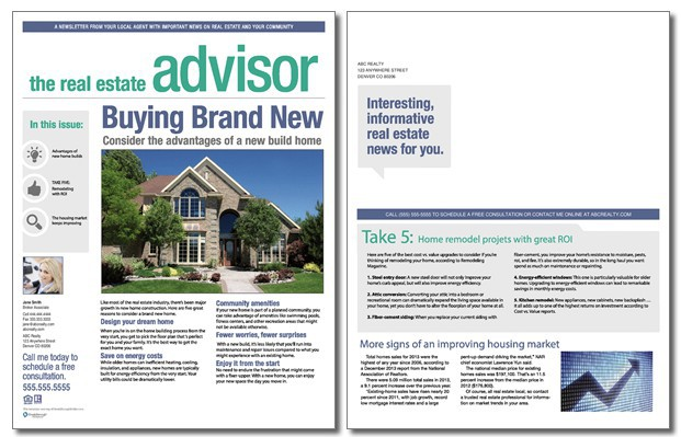 Real Estate Advisor Newsletter Template Volume  Issue