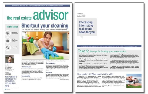 realtor newsletter templates - real estate advisor newsletter template volume 4 issue 1