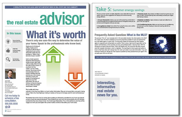 Real Estate Advisor Newsletter Template Volume 2 Issue 6