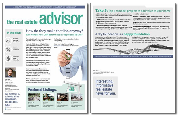 Real estate advisor newsletter template issue 7 for Realtor newsletter templates