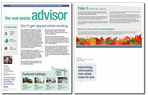 Real estate advisor newsletter template issue 6 for Realtor newsletter templates