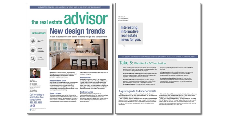 Real Estate Advisor Newsletter Template Volume 3 Issue 10 – Real Estate Newsletter Template