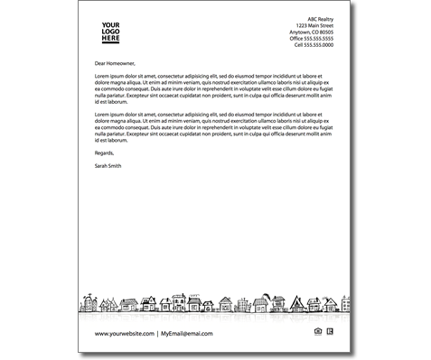 real estate prospecting letters samples real estate themed letterhead 24201 | crop RowHomeLetterhead Preview