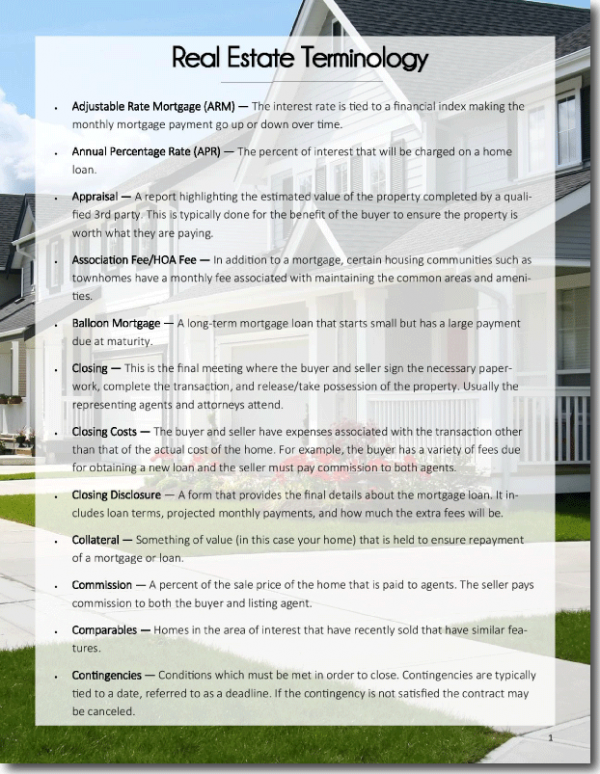 Real estate terminology pdf fandeluxe Image collections