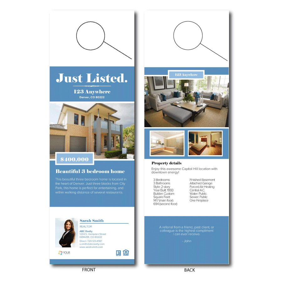 Free Real Estate Templates - Real estate door hanger templates
