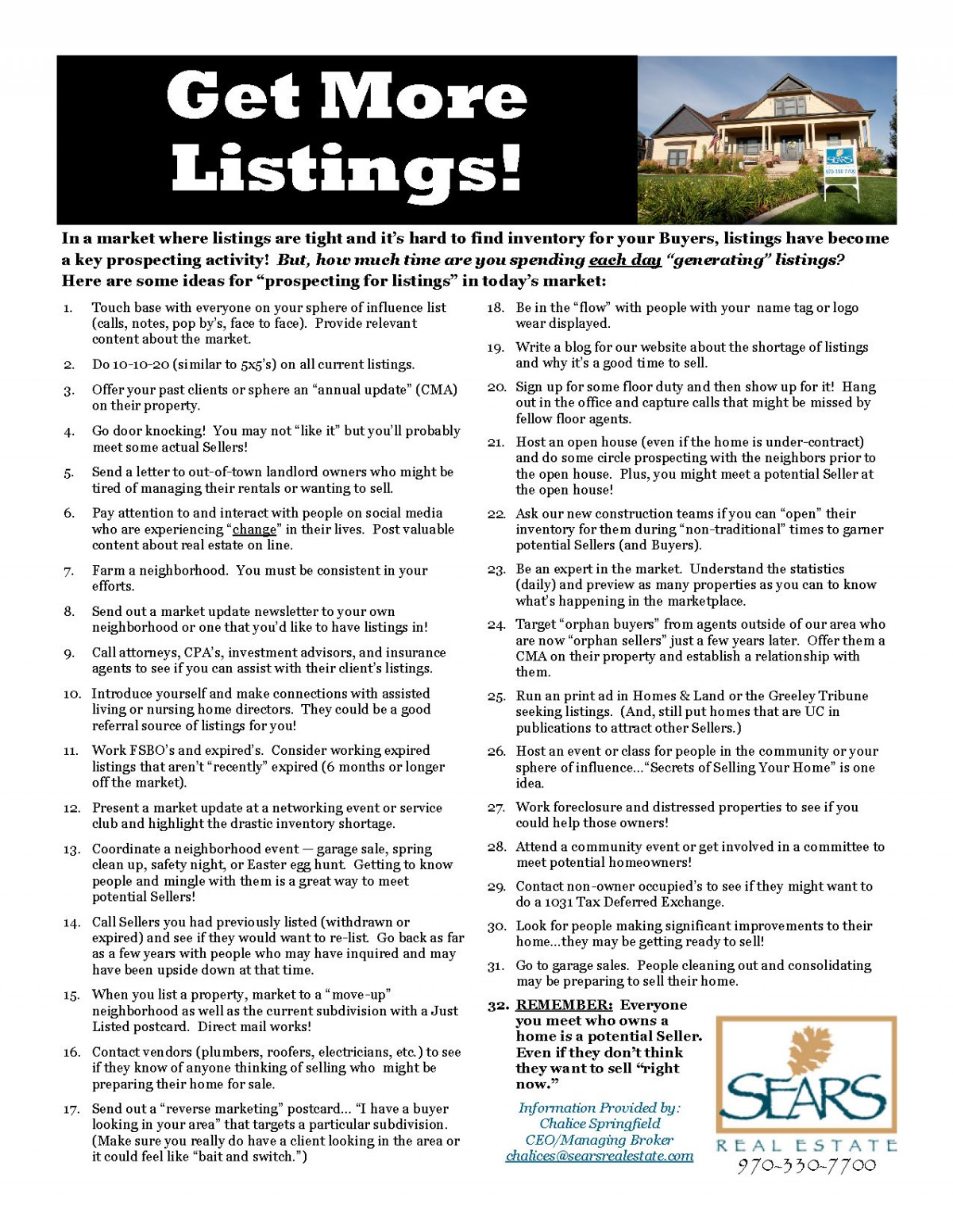 Listing prospecting checklist for Home searcher