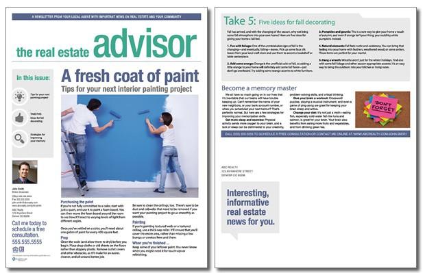real estate advisor newsletter template  volume 2  issue 9
