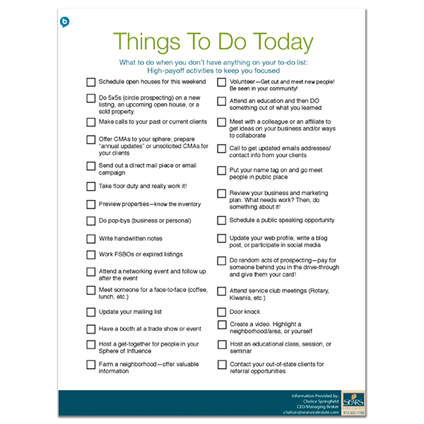 Checklists things to do today checklist solutioingenieria Choice Image