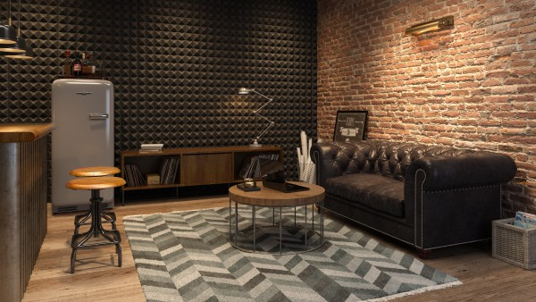 image of a finished basement in the style of a man cave with a dark brown color scheme